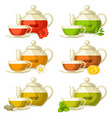 types of tea set of glass cups and kettles with vector image vector image