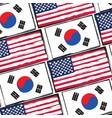 usa and south korea flags or banner vector image