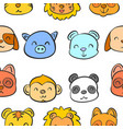 various animal head of doodle style vector image vector image