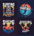 vintage colorful surfing prints set vector image vector image