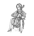young woman musician plays the cello on the vector image