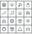 set of 16 christmas icons includes lorry birthday vector image
