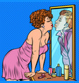 a woman kisses a man reflection in mirror vector image