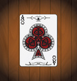 Ace of clubs poker card varnished wood background vector image vector image
