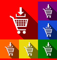 add to shopping cart sign set of icons vector image vector image