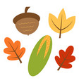 autumn set leaves and corn vector image vector image