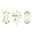 Ayurveda product labels vector image vector image