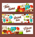 banners with tea and accessories packs and vector image vector image