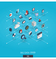big data integrated 3d web icons digital network vector image vector image