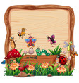 blank wooden board in nature with animal garden vector image vector image