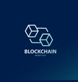 blockchain line art icon and connecting element vector image vector image