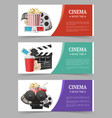 cinema banners template movie flyer with film vector image