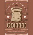 coffee beans on retro poster for cafeteria or cafe vector image