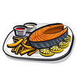 cooked fried salmon vector image