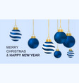 cute colorful christmas balls hanging with motion vector image