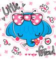 cute elephant girl with a big bow vector image vector image