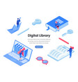 digital library web banner template vector image vector image