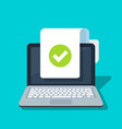 document and checkmark icon on laptop vector image