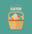 easter egg in basket vector image vector image