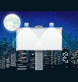 empty urban billboard with lamp and cityscape vector image vector image