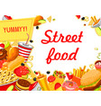 fast food banner with burger drink and dessert vector image vector image