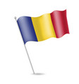 flag of romania on the flagstaff vector image vector image