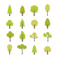 flat trees set forest tree nature plant vector image vector image