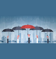 group of hands holding umbrellas over storm in vector image