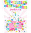 happy birthday party invitation with unicorn and vector image vector image