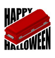 happy halloween coffin and typography for vector image vector image