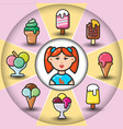 infographic set of ice cream icons and woman vector image vector image