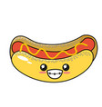 kawaii cute hot dog fast food vector image