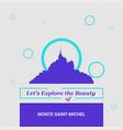 lets explore the beauty of monte saint- michel vector image