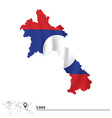 Map of Laos with flag vector image vector image