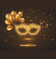 mardi gras mask from gold glitter vector image