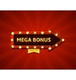 Mega bonus retro banner with glowing lamps vector image vector image