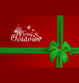 merry christmas typographical on red background vector image vector image