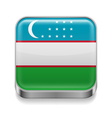 Metal icon of Uzbekistan vector image vector image