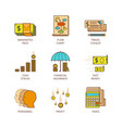 minimal lineart flat financial iconset vector image vector image