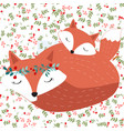 mom and baby fox in seamless pattern flower vector image