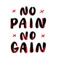 no pain no gain hand lettering vector image vector image
