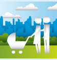 parents with baby pram in the park family vector image
