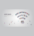 people crowd gathering in shape wifi icon vector image vector image