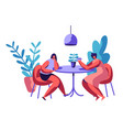 people sit at cafeteria table drink coffee or tea vector image