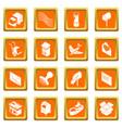 poste service icons set orange square vector image vector image