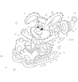 Rabbit sledding vector image vector image