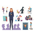 scary characters various fears people nervous vector image vector image