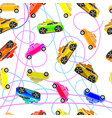 seamless background of childrens cars vector image vector image