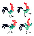set cartoon rooster in various poses isolated vector image vector image