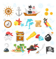 set of pirate adventure icons vector image vector image